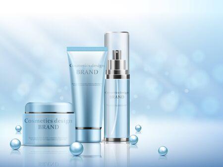Kosmetik-Set-Anzeigen, hellrosa Verpackungsdesign auf blauem Hintergrund mit glitzernden Bokeh-Elementen in Vektorillustration Vektorgrafik