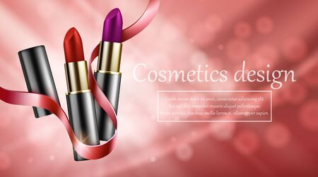 Red lipstick mockup, cosmetic package design, red backgraund. Vector illustration Illustration