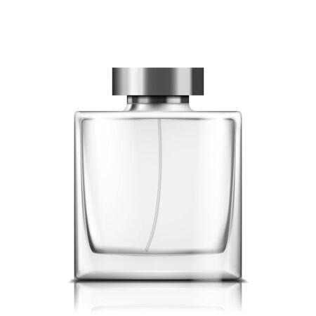 Flacon en verre de parfum sur fond blanc isolé illustration vectorielle