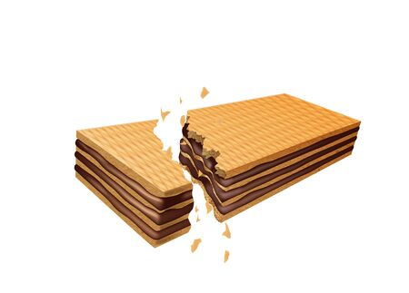 Chocolate wafer breaking, on a white background. Vector illustration 写真素材 - 128241945