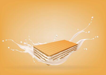 Waffle in milk