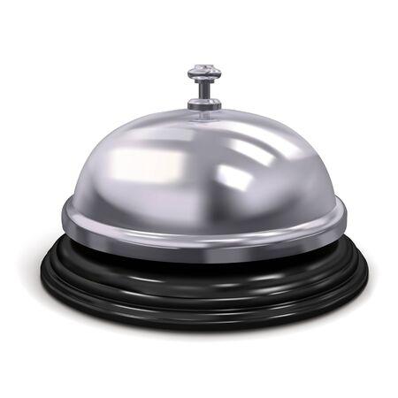 Dzwonek hotelowy w kolorze srebrnym. Ilustracja wektorowa na białym tle
