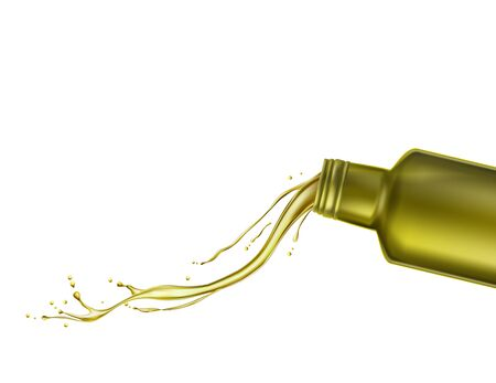 Olive oil comes out of the bottle. Vector illustration Stock Illustratie