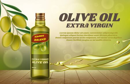 A bottle of olive oil on bokeh background. Vector flyer Illustration