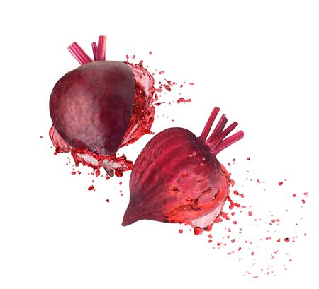 beet juice with a splash on a white background Stockfoto