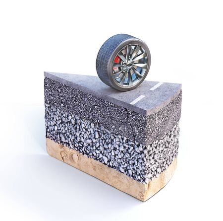 Road coat layers. Piece of cake with road structure. 3d illustration Фото со стока