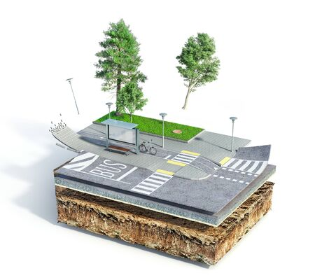 Traffic concept. City bus stop on the piece of ground. See road structure. 3d illustration Фото со стока
