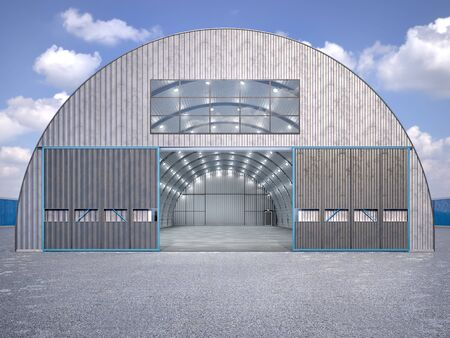 Hangar exterior with open gate. 3d illustration Stockfoto