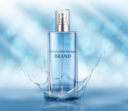 Perfume glass bottle light blue package design on blue background with glittering bokeh elements in vector illustration Vetores