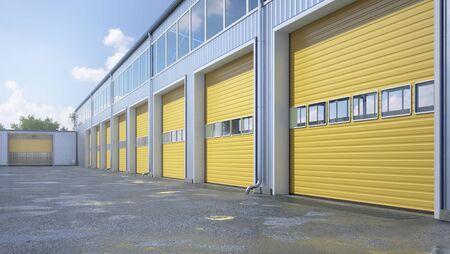 Hangar exterior with rolling gates. 3d illustration Banque d'images - 127797673