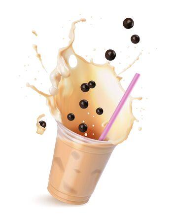 Bubble tea crema marrone chiaro con latte e tapioca nera con cannucce rosa in una tazza trasparente. Illustrazione vettoriale isolato su bianco.