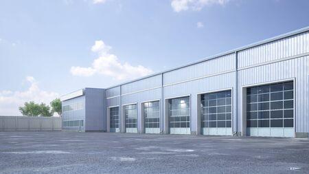 Hangar exterior with rolling gates. 3d illustration Banque d'images - 127935434
