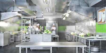 Industriële keuken. Restaurant moderne keuken. 3d illustratie Stockfoto