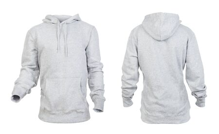 Blank gray hoodie frontside and backside isolated on a white background