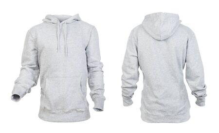 Felpa con cappuccio grigia vuota fronte e retro isolati su sfondo bianco