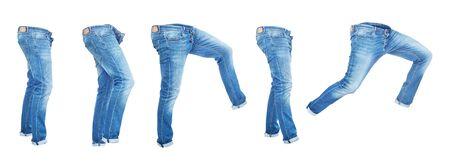 Satz leere Jeanshosen isoliert auf weißem Hintergrund Standard-Bild