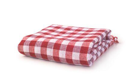 tovaglia in tessuto rosso isolato