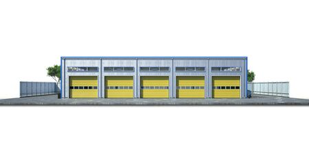 Hangar exterior on the white background. 3d illustration Zdjęcie Seryjne - 128436524