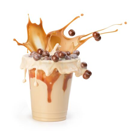 Coffee with milk. Cocoa with chocolate balls and caramel. Drink. Zdjęcie Seryjne - 128436558