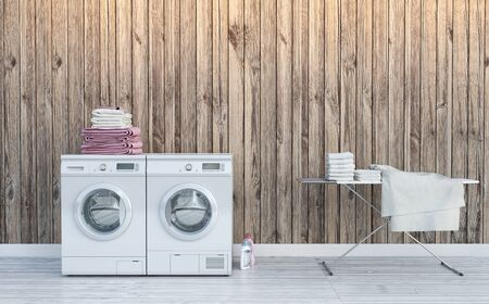 Laundry room, wood wall, backlight and white wood floor .3d illustration