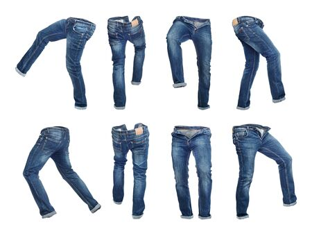 Set of empty blank jeans pants in different poses isolated on a white background Zdjęcie Seryjne - 129197523