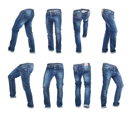 Set of empty blank jeans pants in different poses isolated on a white background Zdjęcie Seryjne - 129197525