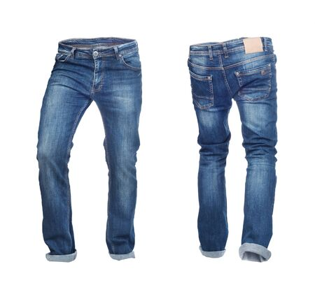 Blank jeans pants frontside and backside isolated on a white background Zdjęcie Seryjne