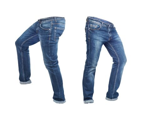 Blank jeans pants leftside and rightside isolated on a white background Zdjęcie Seryjne