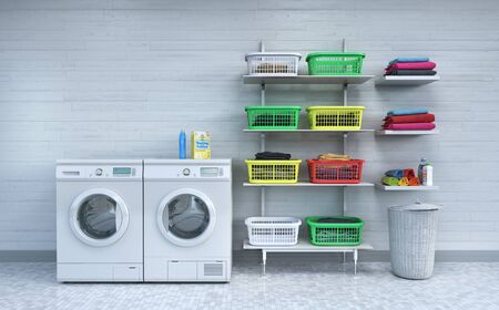 Laundry room, tile, baskets and white wood wall.3d illustration Zdjęcie Seryjne - 129197532