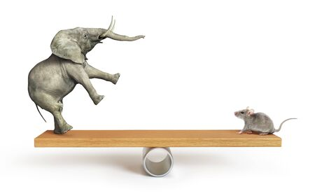 Concept of things importance. Elephant and mouse balanced on a seesaw. 3d illustration