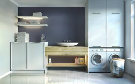 laundry room, sink and facades . 3d illustration Zdjęcie Seryjne - 129197541