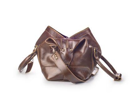 broun skin luggage bag open, isolated Zdjęcie Seryjne - 129197923