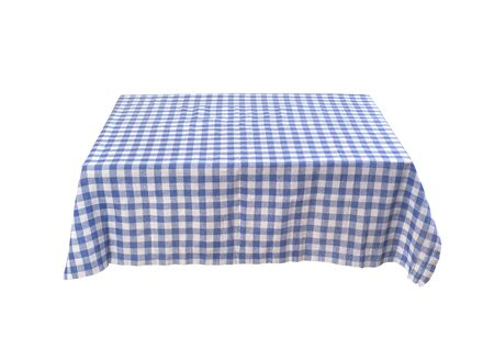 blue table clothe on the table isolated
