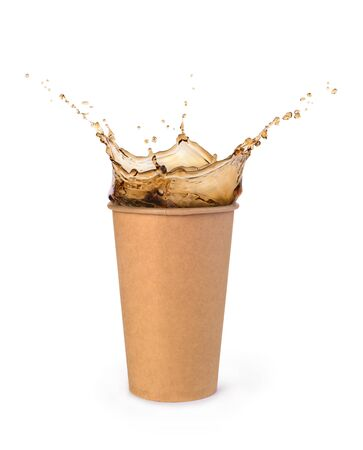 cola splash in paper cup isolated