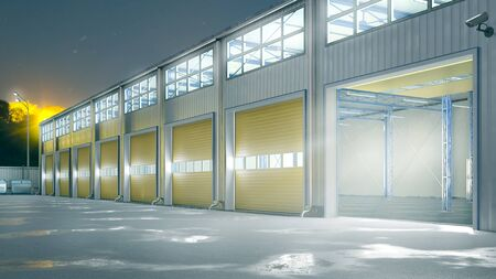 Hangar night exterior with rolling gates. 3d illustration Zdjęcie Seryjne - 129198465