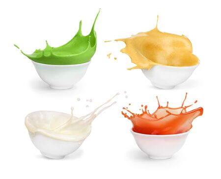 Set of sauces on a white background. Mayonnaise. Ketchup. Wasabi. Mustard.