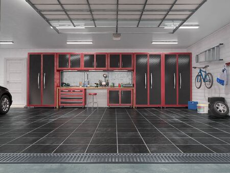 Garage with rolling gate interior. 3d illustration Zdjęcie Seryjne - 129197590