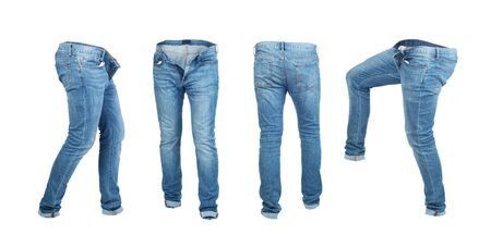 Blank empty jeans pants leftside, rightside, frontside and backside in moving isolated on a white background Zdjęcie Seryjne - 129197607