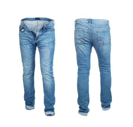 Blank empty jeans pants frontside and backside in moving isolated on a white background Zdjęcie Seryjne - 129197613
