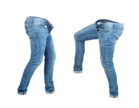 Blank empty jeans pants leftside and rightside in moving isolated on a white background Zdjęcie Seryjne