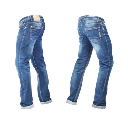 Blank empty jeans pants leftside and rightside in moving isolated on a white background Zdjęcie Seryjne - 129197622