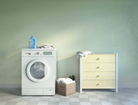 Laundry room, tile, chest of drawers and basket.3d illustration Zdjęcie Seryjne