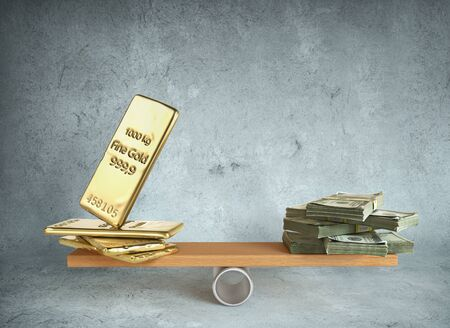 Seesaw with money and gold. Investments. 3d illustration Zdjęcie Seryjne - 129197625
