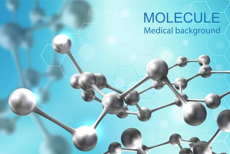 Background for medical theme. Molecules on a blue background. Vector realistic illustration. Ilustracja