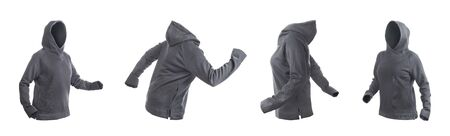 Blank gray hoodie with raised hood leftside, rightside, frontside and backside isolated on a white background