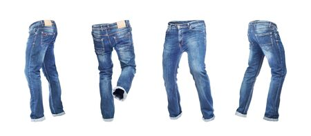 Blank empty jeans pants leftside, rightside, frontside and backside in moving isolated on a white background