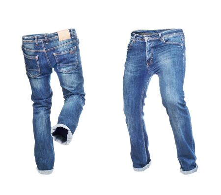 Blank empty jeans pants frontside and backside in moving isolated on a white background Zdjęcie Seryjne