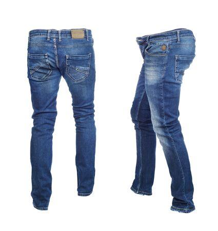Puste spodnie jeansowe z przodu i z tyłu na białym tle