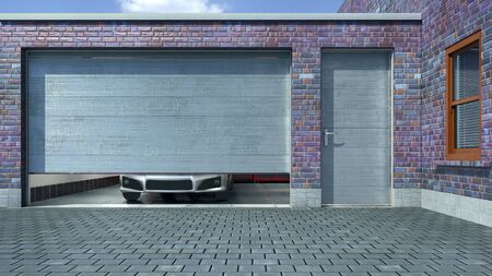 Modern garage with open sectional gate. 3d illustration