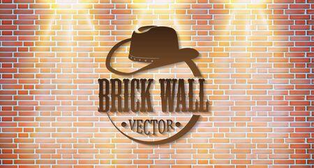 Brick wall with bright light. Retro logo. Vector illustration. Illustration